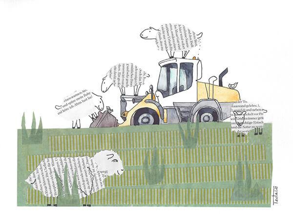 Man blickt von unten auf einen Deich. Auf der Deichkrone steht ein gelber Bagger. Drei Schafe klettern über den Bagger und das auf dem Dach des Führerhauses markiert ihn mit kleinen Kötteln. Auch zwei kleine Vögel sitzen auf dem Bagger. Kurz unter der Deichkrone steht ein Schaf das den Betrachter beobachtet. Im Vorderrgrund steht ein fünftes Schaf, das nach rechts aus dem Bild schaut.