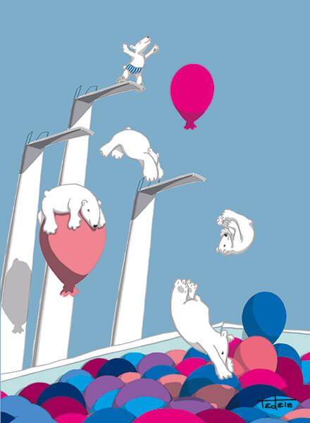 Zu sehen sind fünf Eisbären, die von 3 Sprungtürmen in ein Schwimmbad springen. Das Schwimmbad ist mit Luftballons gefüllt, die langsam in die Luft aufsteigen. Vier Eisbären sind schon gesprungen. Einer ist dabei bäuchlings auf einem Ballon gelandet. Der kleinste Eisbär steht auf dem höchsten Turm im Begriff zu springen und trägt eine Badehose. Das Bild ist in Blau und Rosatönen gehalten.