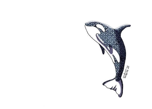 """Ein Orca springt nach oben durch das Bild. Seine dunkle Haut ist in Graublau mit einem hellen Rautenmuster dargestellt. Es handelt sich um ein Motiv für die Challenge """"Draw The Oceans"""" von Greenpeace in 2021."""