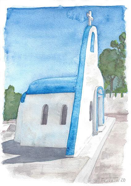 An der griechischen Lagune Limni Bouligmenis steht eine kleine Kapelle, die nicht nur durch ihre asymmetrische Front bemerkenswert ist, sondern auch durch ihr blaue gestrichenes Dach, was auf dem Festland untypisch ist.