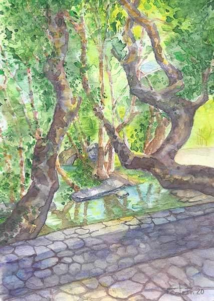 Zu sehen ist der Blick von einer Brücke in der griechischen Stadt Livadia, die auch im Sommer durch eigene Quellen gespeist wird und daher einen kleinen Flusslauf mit vielen Bäumen durch den Ortskern aufweist. Das ist für Griechenland im Sommer eher untypisch und sehr malerisch.