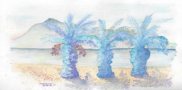 Blick auf einen Strandabschnitt mit drei Palmen, eine mit Datteln. Dahinter das Meer und dahinter ein Berg. Zarte Aquarelltöne, hauptsächlich in Blau und Grün. Die Palmen werfen einen Schatten nach rechts unten.