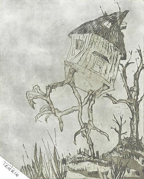 Windschiefe Hütte auf vier Hühnerbeinen auf einer Wiese vor kahlen Bäumen. Strichätzung und offene Ätzung
