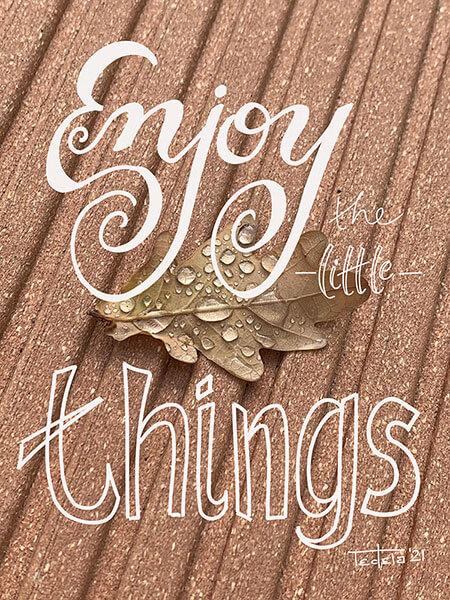 """Schriftzug """"Enjoy the little things"""" in verschiedenen Schriften über einem holzfarbenen Hintergrund, auf dem ein trockenen Blatt liegt, auf dem sich Regentropfen gesammelt haben. Die Unterlänge des y ringelt sich um einen dieser Tropfen."""