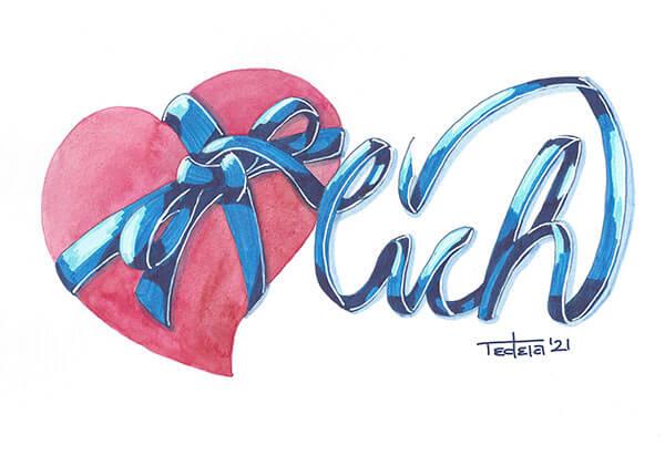 """ein rosarotes Herz in Aquarell ist mit einem blauen Band mit Schleife umwickelt. das lange Ende des Bandes formt rechts neben dem Herzen den Wortteil """"lich"""""""