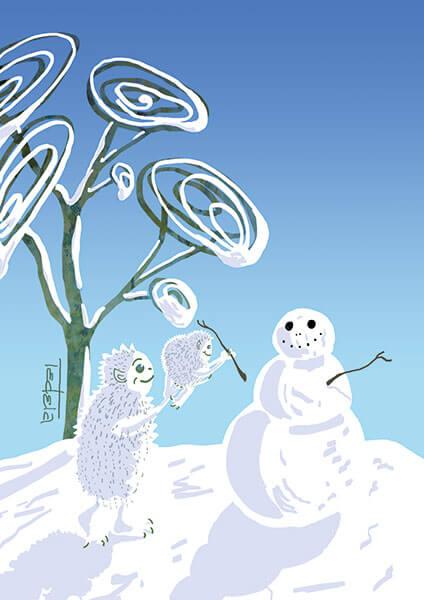 Das Bild zeigt ein weißes Monster mit seinem Kind, die zusammen eine Schneemann bauen. Im Hintergrund ist ein abstrahierter Baum zu sehen.