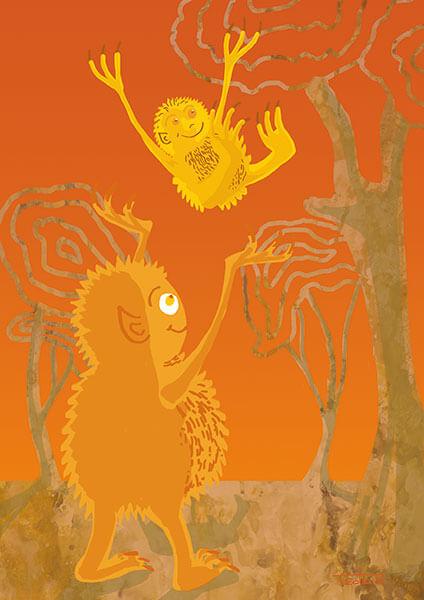 Das Bild zeigt ein oranges Monster in einer abstrahierten Baumlandschaft vor orangerotem Hintergrund, das sein gelbes Kind in die Luft wirft.