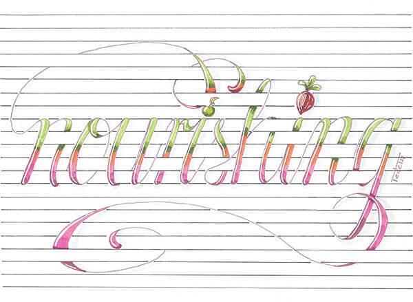 """Das Wort """"nourishing"""" windet sich um die Linien eines linierten Papiers. die Umrisse des Wortes sind in Rosa gehalten, die Buchstaben selbst sind von oben nach unten in hellgrün, dunkelgrün, orange, rosa und dunkelrosa eingefärbt. Die I-Punkte sind ein kleiner grüner Apfel und ein Radieschen."""
